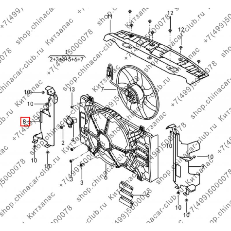 Дефлектор правый электровентилятора двигателя Dongfeng AX7 2017-