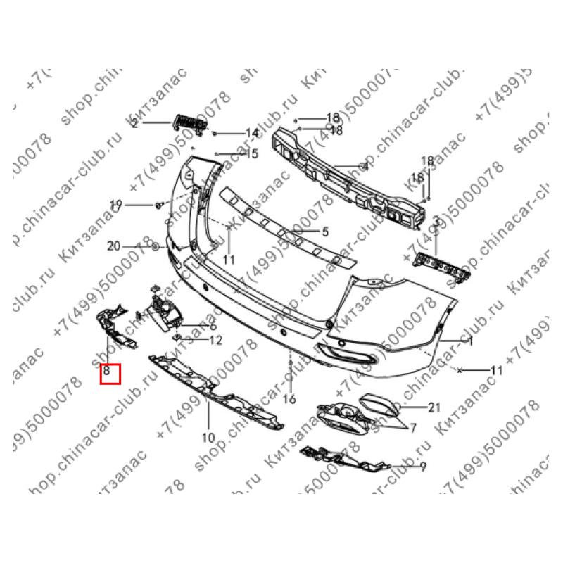 Кронштейн декоративной накладки выхлопной трубы левый Dongfeng AX7 2017-