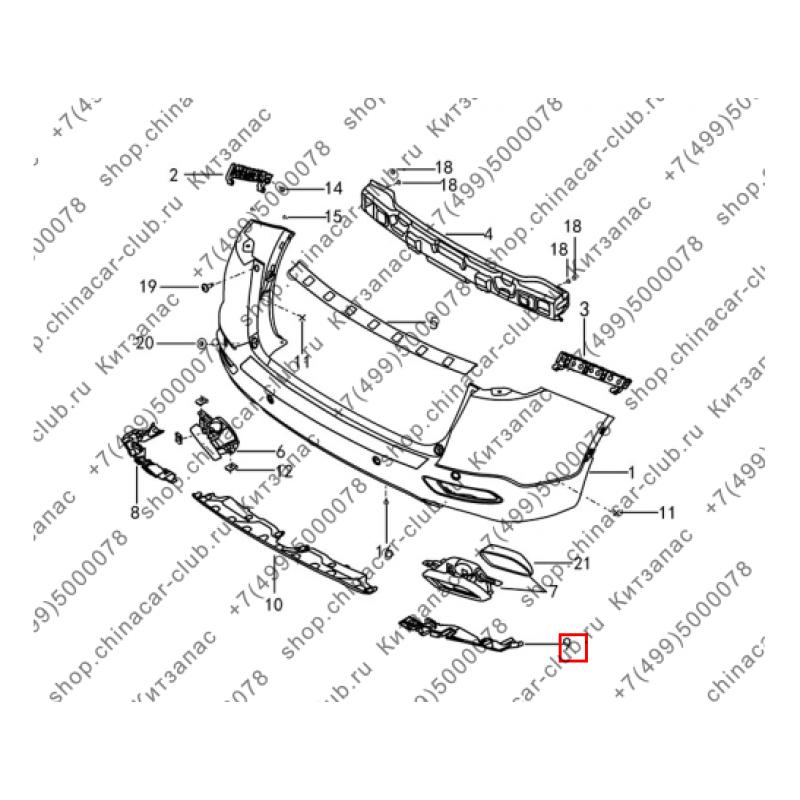 Кронштейн декоративной накладки выхлопной трубы правый Dongfeng AX7 2017-