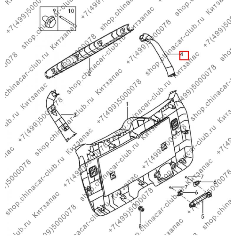 Накладка двери задка внутренняя правая Dongfeng AX7 2017-