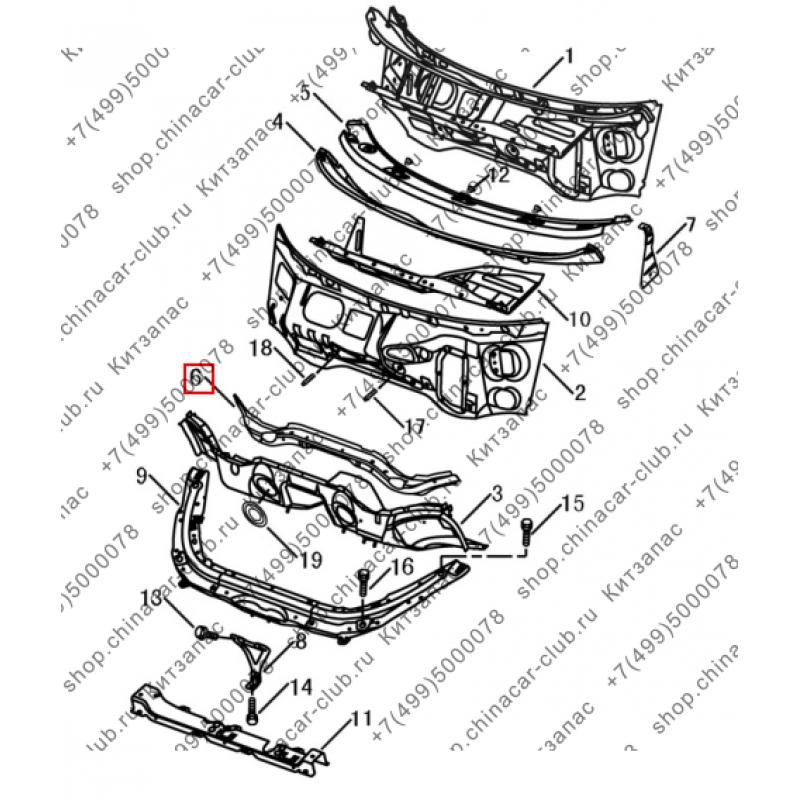 Дефлектор центральный панели моторного отсека