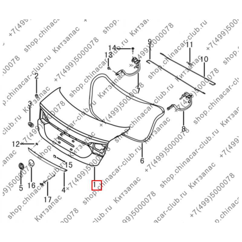 Крышка багажника s30 (без камеры заднего вида)
