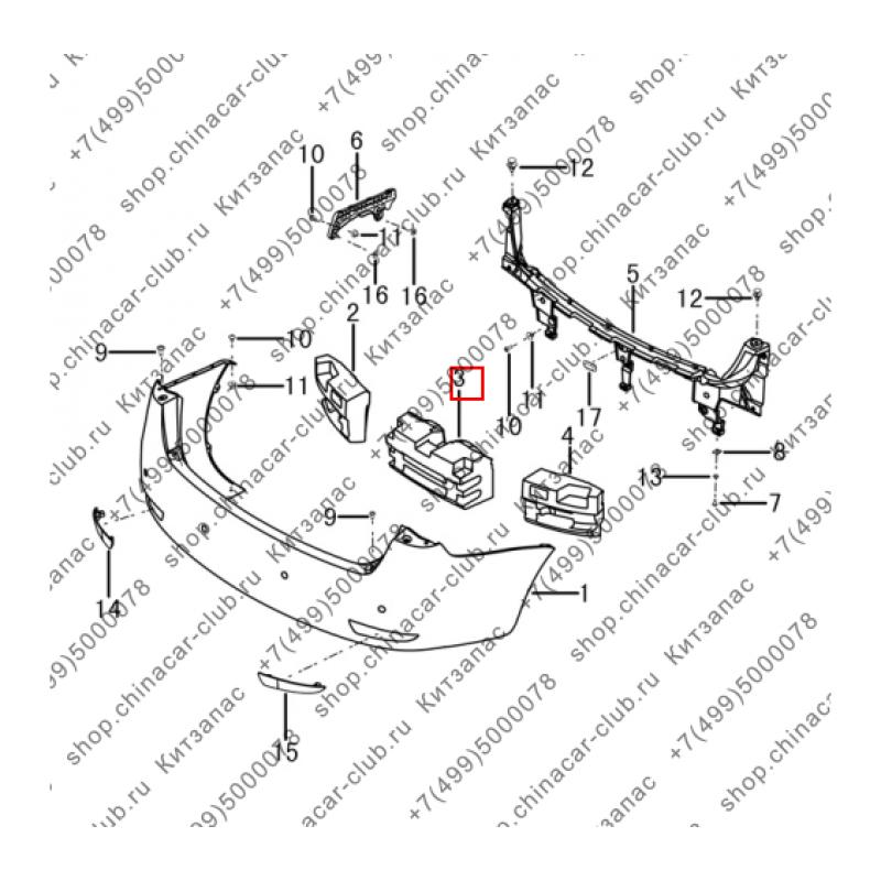 Абсорбер заднего бампера центральный s30