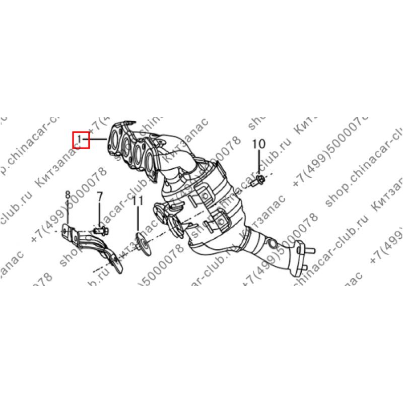 Коллектор выпускной с катализатором в сборе (мкпп)