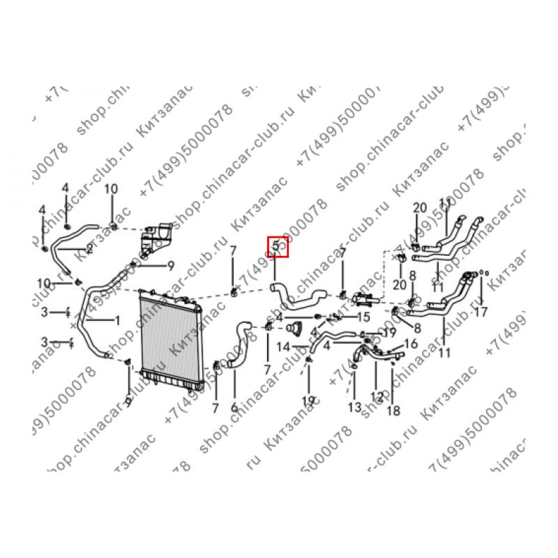 Патрубок радиатора охлаждения двигателя верхний (МКПП)
