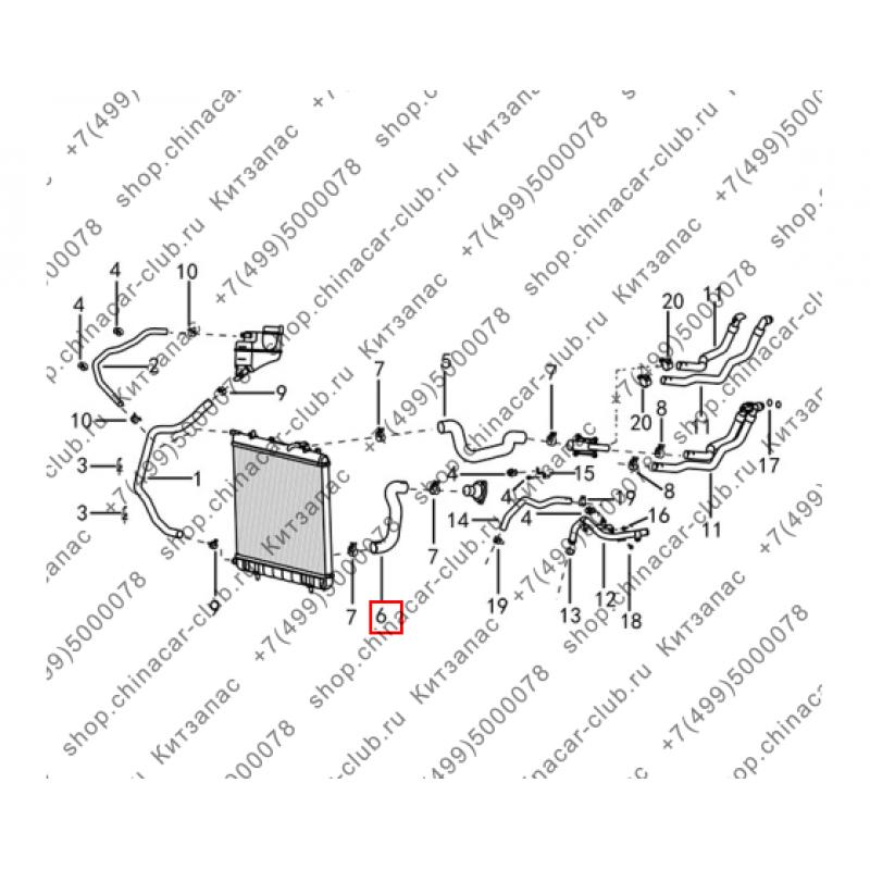 Патрубок радиатора охлаждения двигателя нижний (АКПП)
