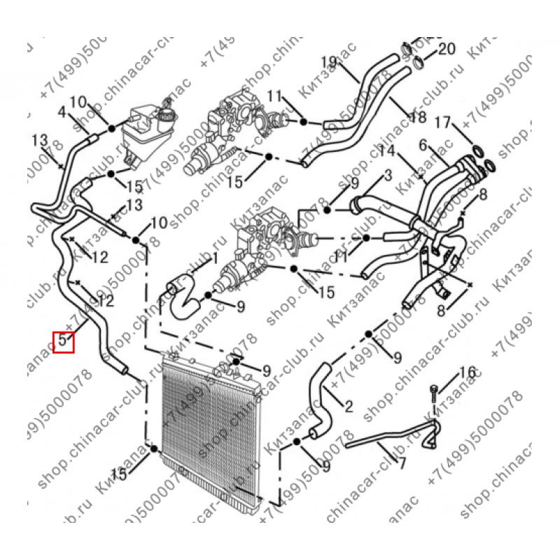 Патрубок радиатора к  расширительному бачку