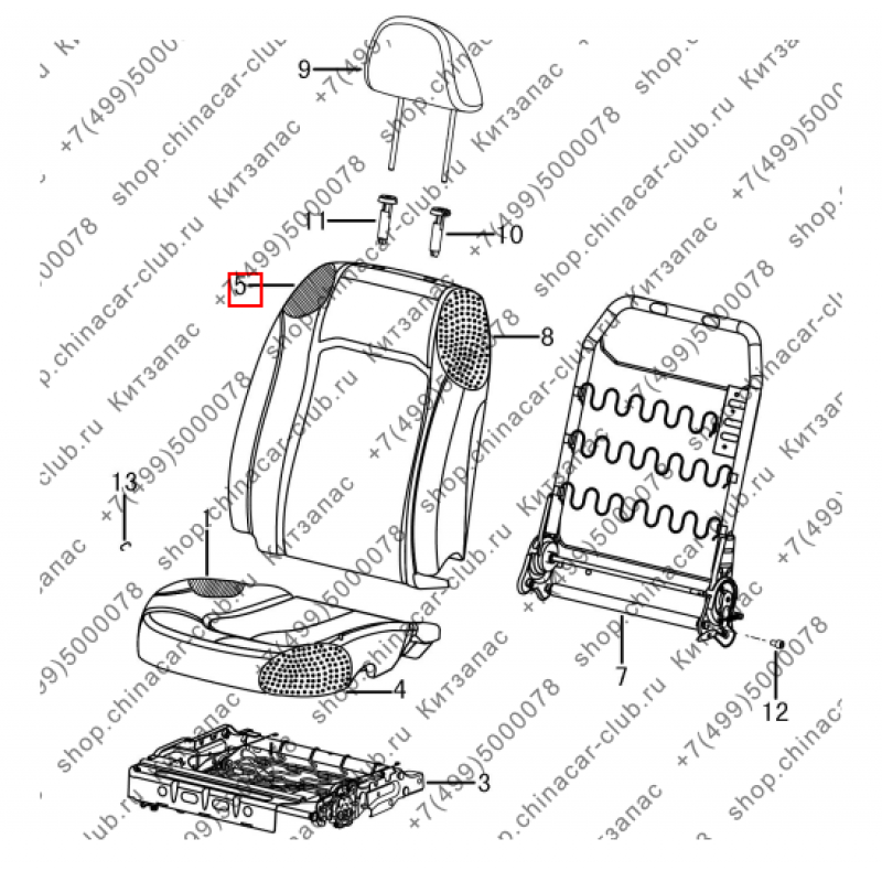 Обивка спинки пер.сидения правого(серая,кожа)