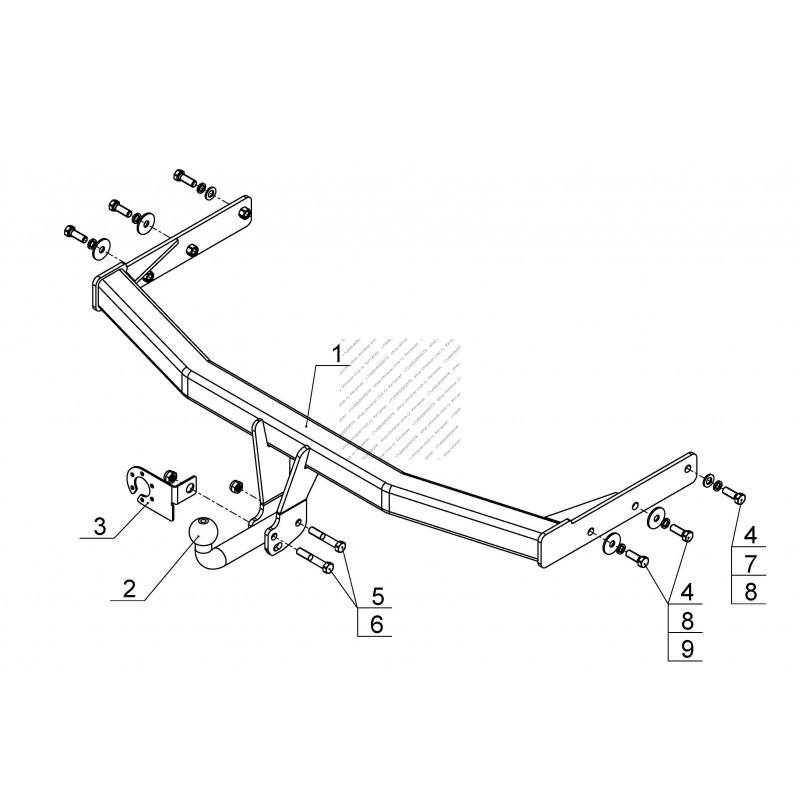 Фаркоп Great Wall Hover Н5/H3/H3 NEW с подрезанием бампера